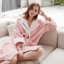 2019 cardigan inverno pijamas das mulheres quente roupão grosso quente coral velo bordado robe solto roupas de casa sleepwear