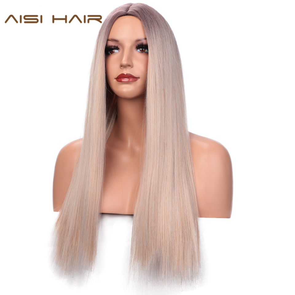 AISI HAIR Long Silky Straight Synthetic Wig Mixed Brown And Blonde Long Wigs For White /Black Women Middle Part Natural Wigs