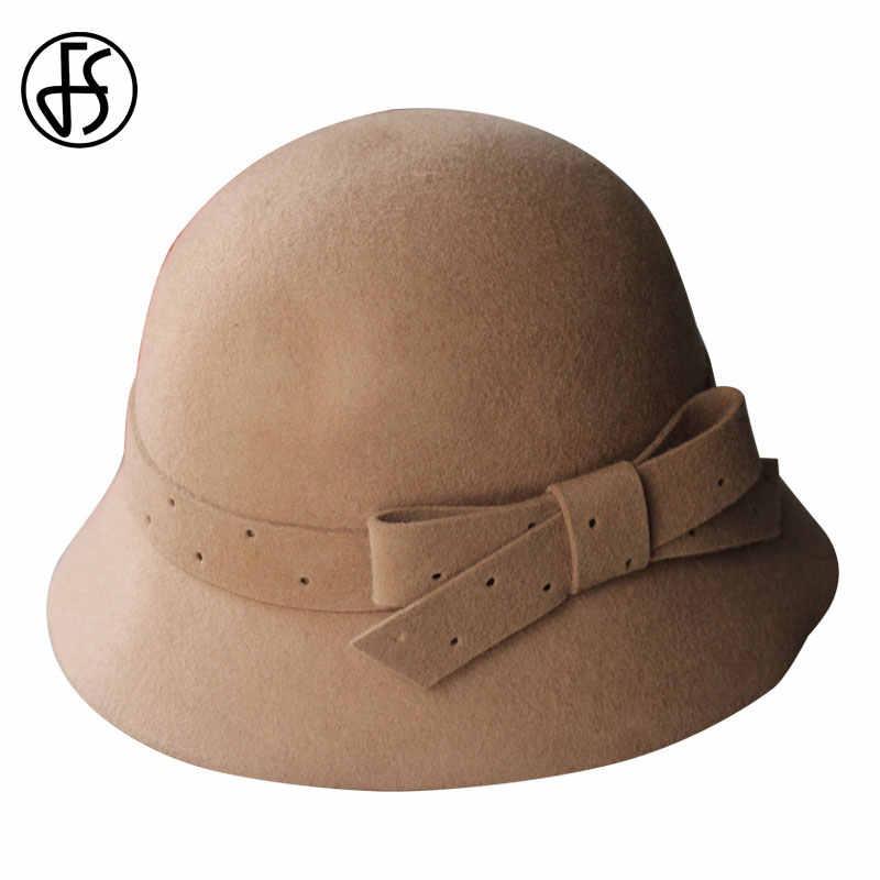 FS สุภาพสตรี VINTAGE ผ้าขนสัตว์กว้าง Brim หมวกโบว์ Bowler สีแดง Fedora หมวกสำหรับผู้หญิง Chapeau Femme Feutre ฤดูหนาว Felt Cloche โบสถ์ Fedoras