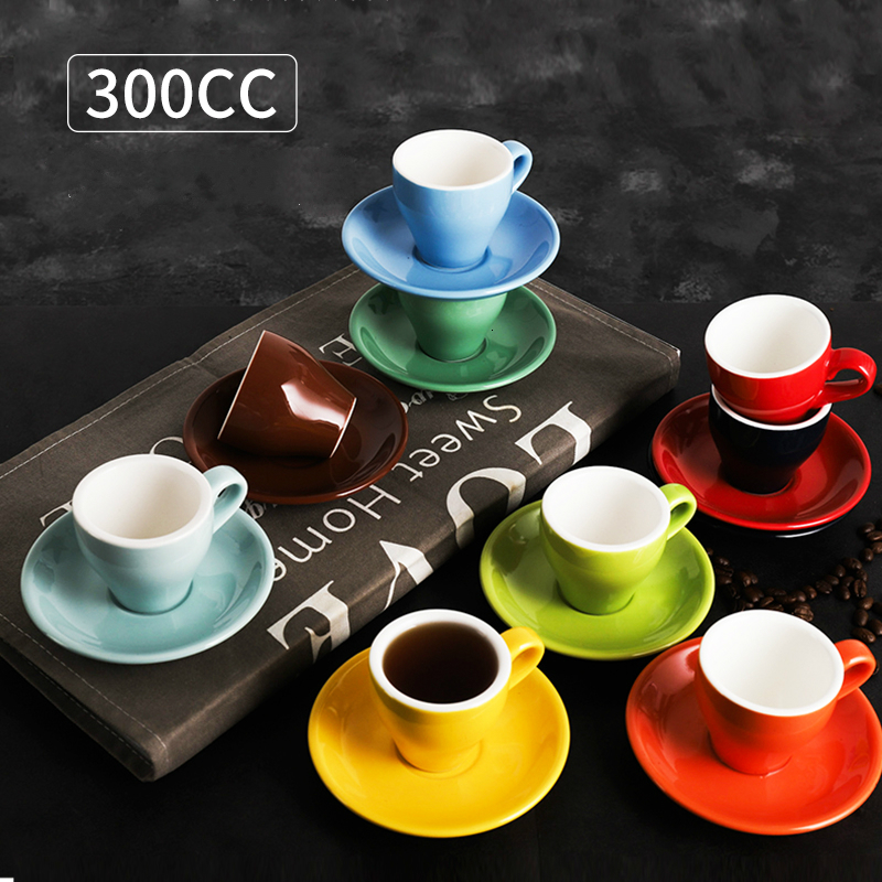Classic <font><b>Coffee</b></font> Concentrate <font><b>Cup</b></font> <font><b>Set</b></font> Colored Ceramic Espresso <font><b>Cup</b></font> Cappuccino <font><b>Cup</b></font> 300CC Pull Flower Koffie Kopjes Dessert <font><b>Cups</b></font> image