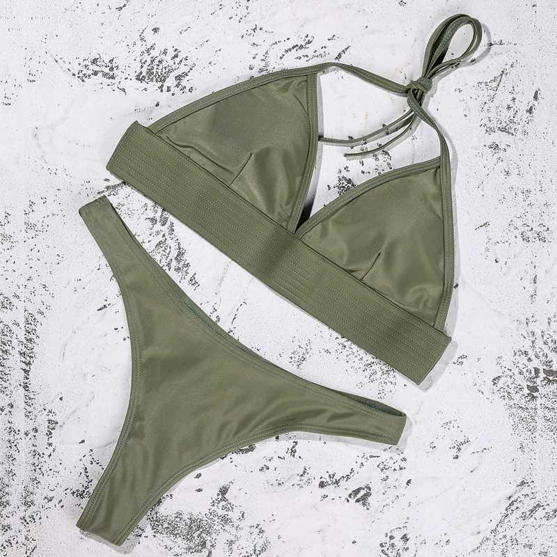 ZTVitality Solido Sexy Bikini Push Up Bikini 2020 Imbottito Halter Perizoma A Vita Bassa Costumi Da Bagno Delle Donne String Costume Da Bagno della Fasciatura Biquini