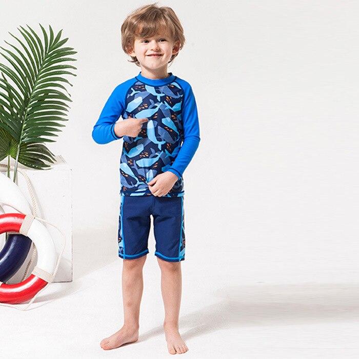 2019 New Style KID'S Swimwear BOY'S Printed Pattern Two-piece Swimsuits Long Sleeve Sun-resistant KID'S Swimwear Manufacturers D