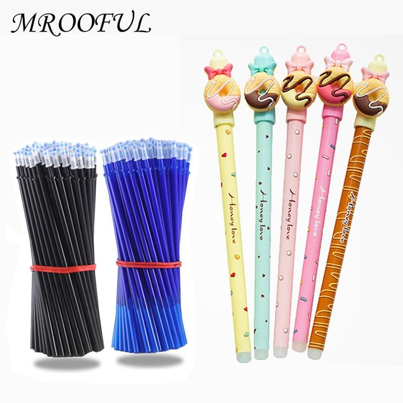 2 Pcs/lot Cartoon Bear Food Erasable Gel Pen 0.5mm Erasable Blue Ink Pens For Kids Novelty Gift School Office Writing Stationery