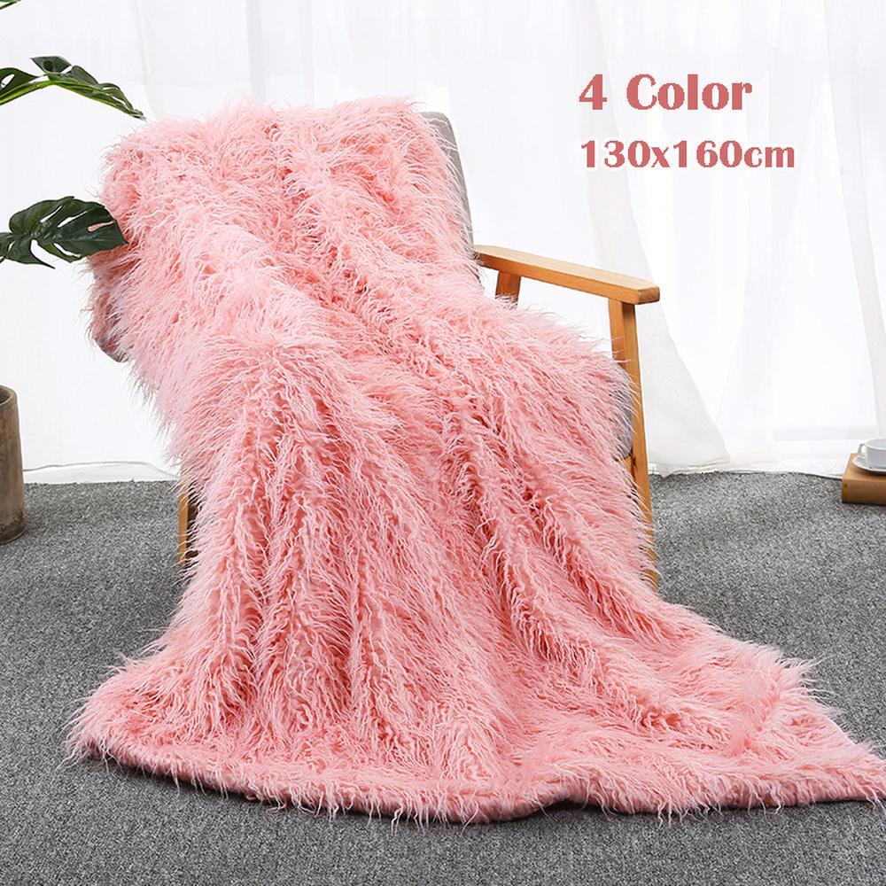 51 longue couverture en fausse fourrure Super doux floue moelleux Shaggy mongol agneau jeter couverture en peluche chaude literie couverture chambre canapé étage