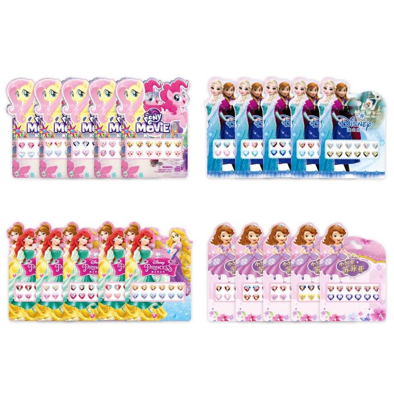 Disney Princess Crystal Sticker Toy Three-dimensional Earrings Frozen Girls Dress Up Gifts Cartoon Fashion Children Cute Sticker
