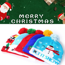 Цветной Рождественский светодиодный светильник для родителей и детей, Вязаная Шапка-бини с помпоном, шапка с рождественским Сантой, вязаный светильник для детей