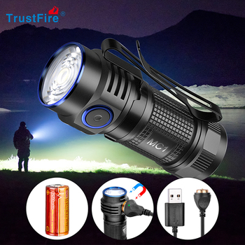 цена на Trustfire MC1 Magnetic LED Flashlight Cree Rechargeable 2A Fast Charging Pocket Torch with Magnet Mini EDC Work Lamp keychain