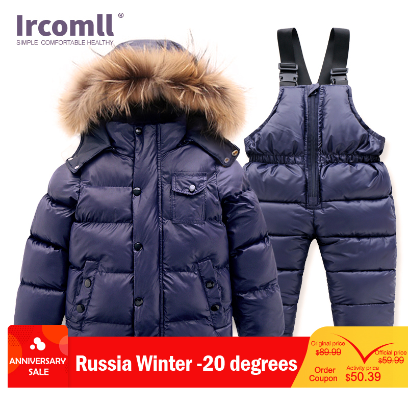Ircomll Hight Quality Russia Winter Child Clothing Set Thick Cotton Down Waterproof Windproof Children Clothes Snow