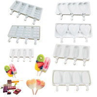 4pcs Ice Cream Mold DIY Silicone Mold Homemade Popsicle Mould Silica Gel Ice Cube Maker Ice Cube Tray Ice Mold