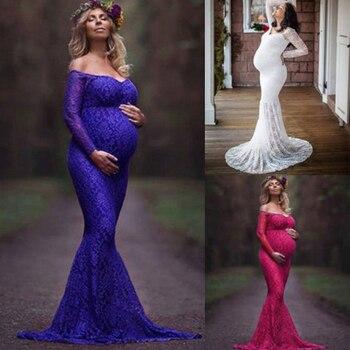 New Maternity Lace Off Shoulder V Neck Dress for Women 2