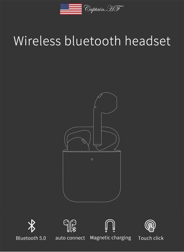 Нам капитан стильный истинно беспроводные наушники и Bluetooth 5.0, 24-часового воспроизведения стерео в-ухо наушники СПЦ с зарядка чехол