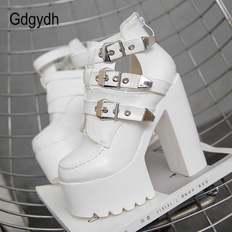 Gdgydh 2020 yeni kadın yarım çizmeler yuvarlak ayak sığ Out yüksek platformu toka kadın kısa çizmeler yumuşak deri kalın yüksek topuklu
