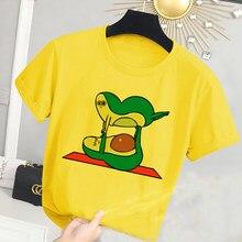 Camisetas deportivas con estampado de aguacate para niños, ropa informal amarilla, camiseta de manga corta con cuello redondo