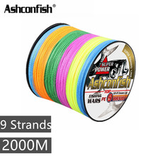 Multifilament fishing braided line 2000M super round 9 Strand pe wire line saltwater sea fishing string 15 20 140 160 210 310LBS