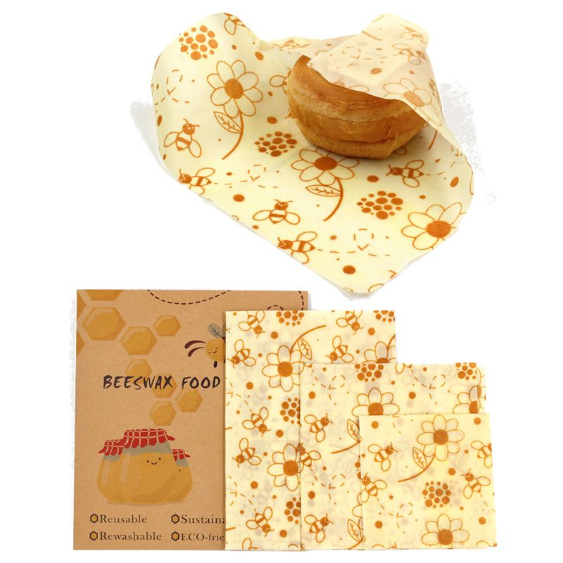 Large, Medium And Small 3 Pieces, Reusable Beeswax Food Wrap.