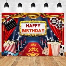 Laeacco תינוק קריקטורה קולנוע סרט פופקורן שלב אדום שטיח שמח מסיבת יום הולדת תמונה רקע צילום רקע Photostudio