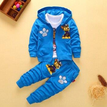 2019 New Children Kids Boys Clothing Sets Autumn Pikachu Sets Hooded Coat Suits Fall Cotton Baby Boys Coat+Pant 3Pcs Clothes set
