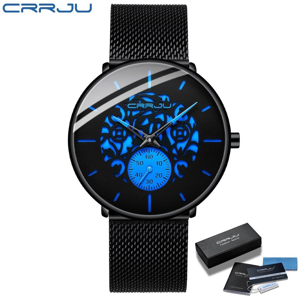 Men Watch Fashion CRRJU 2021 Men's Blue Ultra-thin Mesh Strap WristWatch Retro Hollow Flower Cool Casual Waterproof Men Watch