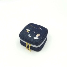 Cinderella embroidery jewelry box travel portable mini square ring nail earrings necklace storage bag