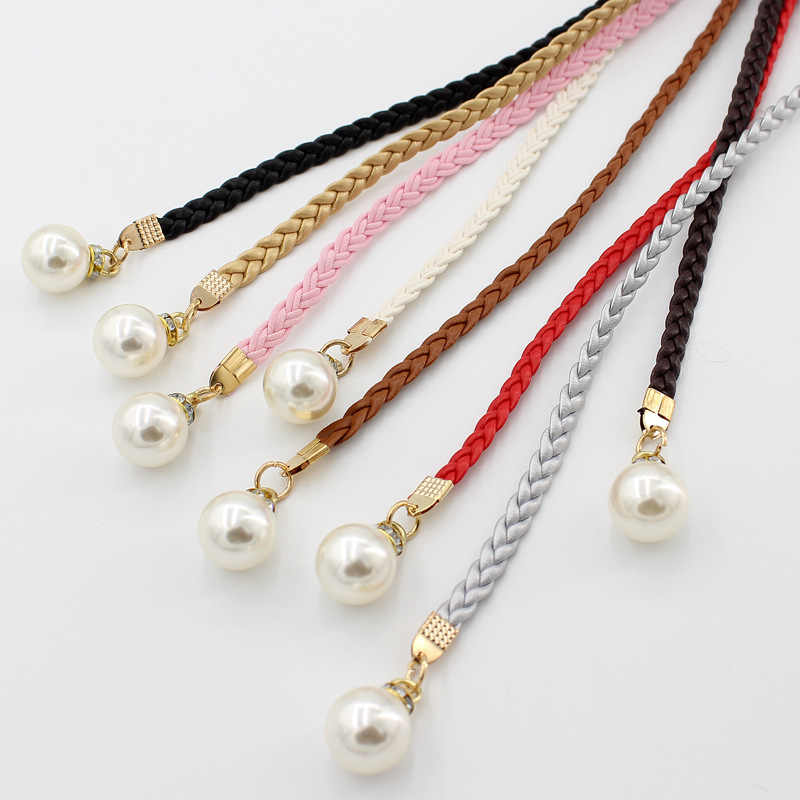 Fashion Thin PU Leather Belt Simulated Pearl Elastic Waist Belts Women Dress Skirt Decoration Fashion Girles Gifts Women Belt