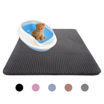 Pets Cats Litter Mat Bed House Floor Double Layer EVA Leather Waterproof Bottom Catcher Home Mat Portable Wearable Cat Products image