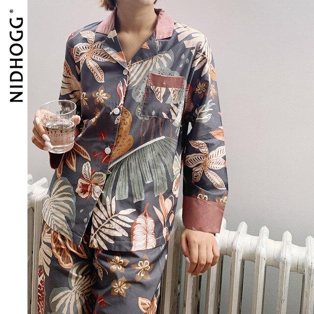 الكلاسيكية طباعة منامة للنساء كم طويل القطن بيجامات 2 قطعة مجموعة الخريف بدوره إلى أسفل طوق ملابس النوم عادية ملابس نوم نسائية