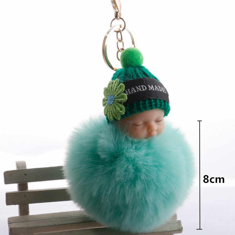 Bonito dormir bebê boneca de pelúcia crianças brinquedo do bebê bola de pele chaveiro pingente menina saco ornamentos decoração páscoa favores aniversário presente natal