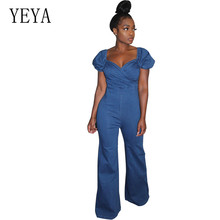 YEYA Classic Sexy Blue V-neck Strapless Trousers Fashion Women Denim Long Wide Leg Jumpsuits Overalls for Rompers Autumn