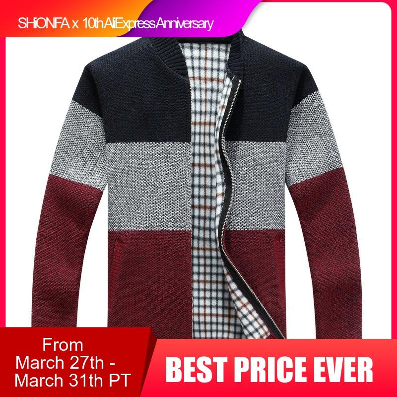 Winter Fashion Patchwork Men's Knitted Jackets Thick Comfy Long Sleeve Sweater Coat Warm Stand Collar Fall Tide Casual Cardigan