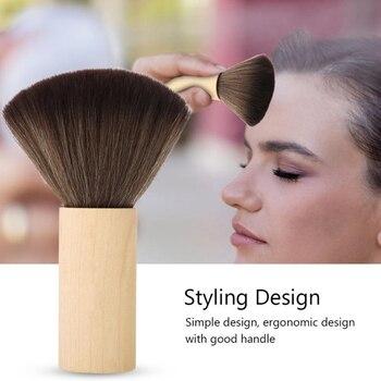 Mango de madera peluquería salón peluquería uso doméstico ligero cepillo de pelo portátil cuello cara barrido denso