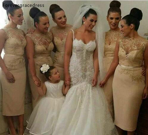 Cheap Tea Length Champagne Bridesmaid Dress Lace Appliques Country Garden Wedding Party Guest Maid Of Honor Gown Plus Size