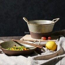 Tableware Japanese-Style Rice-Bowl Ceramic Kitchen Handmade Household Retro-Set Homestay