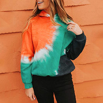 Casual худи толстовка женская hoodie Coat women's Plus Size Tie-Dye Printed Gradient Pullover Long Sleeve Sweatshirt Top