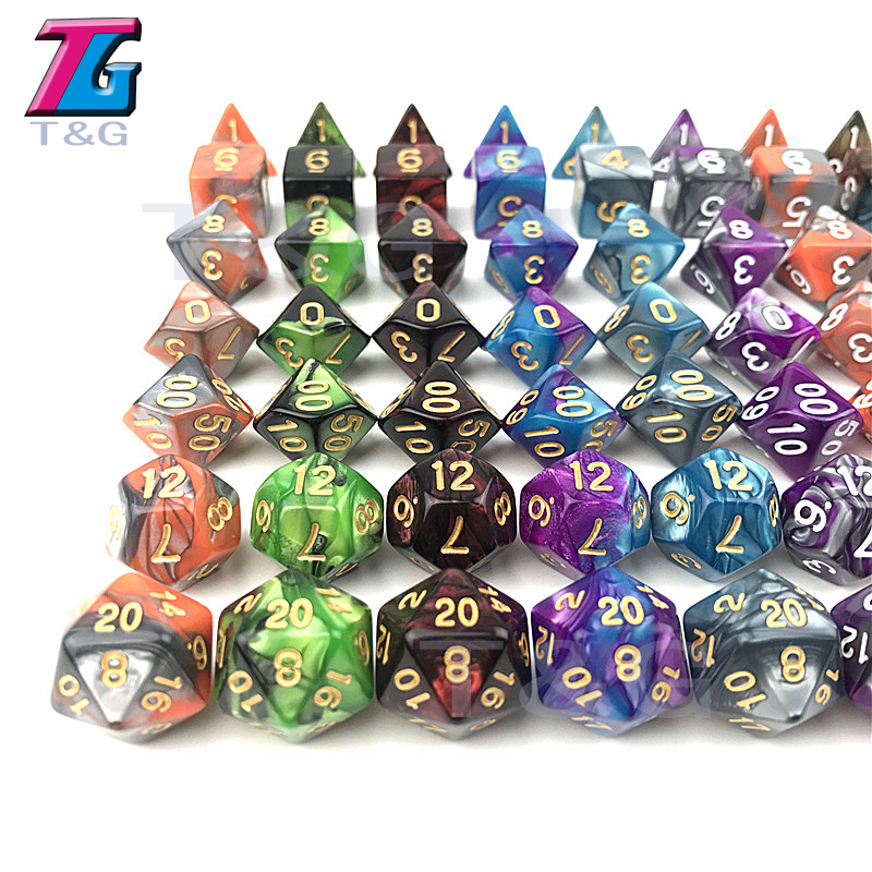 20 Colors Mix Dice DND Die Toys For Adults Kids Plastic Cubes Special Birthday Gift