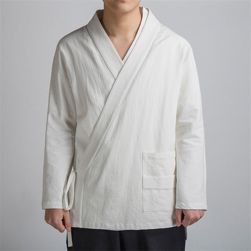 Tang Suit 2020 Autumn Chinese Style Cardigan Bandage Shirts Hanfu Vintage New Year Traditional Chinese Clothing For Men Tai Chi