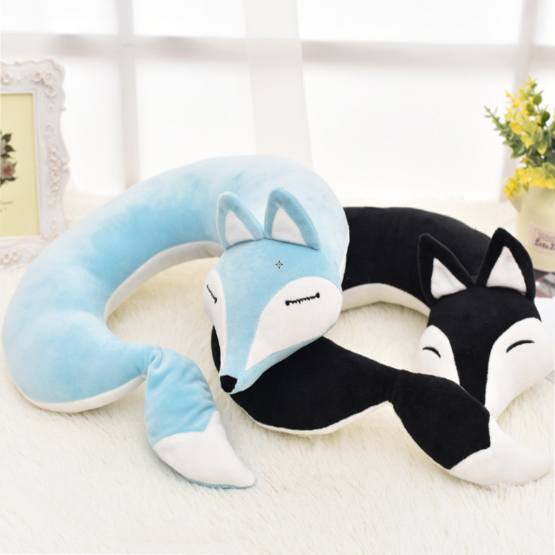 Lovely Fox Animal Cotton Plush U Shape Neck Pillow Travel Car Pillow Nap Pillow