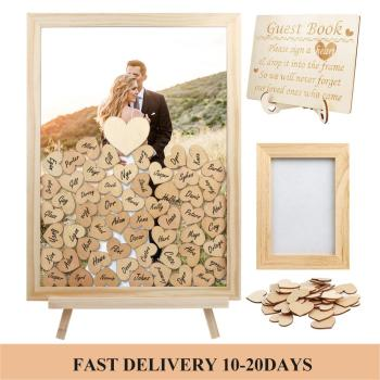 Wedding Guest Book Personalized Rustic Sweet Wedding Guestbook Drop Box Signature 3D Guest Book Wooden Box Alternative Guestbook alternative petersburg guide book