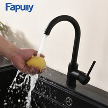Fapully Black Polished 100% Brass Kitchen Faucet 360 Swivel Rotation Single Handle Hot and Cold Sink Faucets Mixer Tap