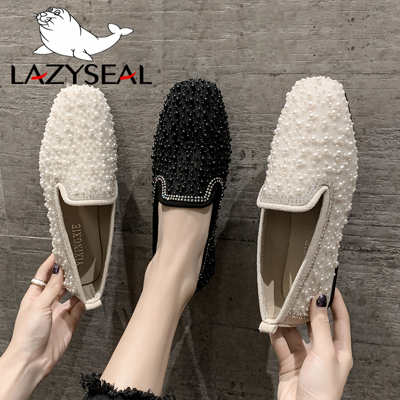 LazySeal 2020 Spring Flats Women Shoes Jewelry Crystals Pearl Loafers Flat Heel String Bead Moccasin Mules Shoes For Women