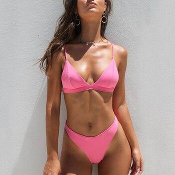 Bikini 2020 Solid Swimsuit Women Swimwear Push Up Bikini Set Patchwork Biquini Brazilian Summer Beach Bathing Suit Swim Wear bikini set summer swimwear biquini women sexy beach swimsuit bathing suit push up brazilian bikini maillot de bain bikini