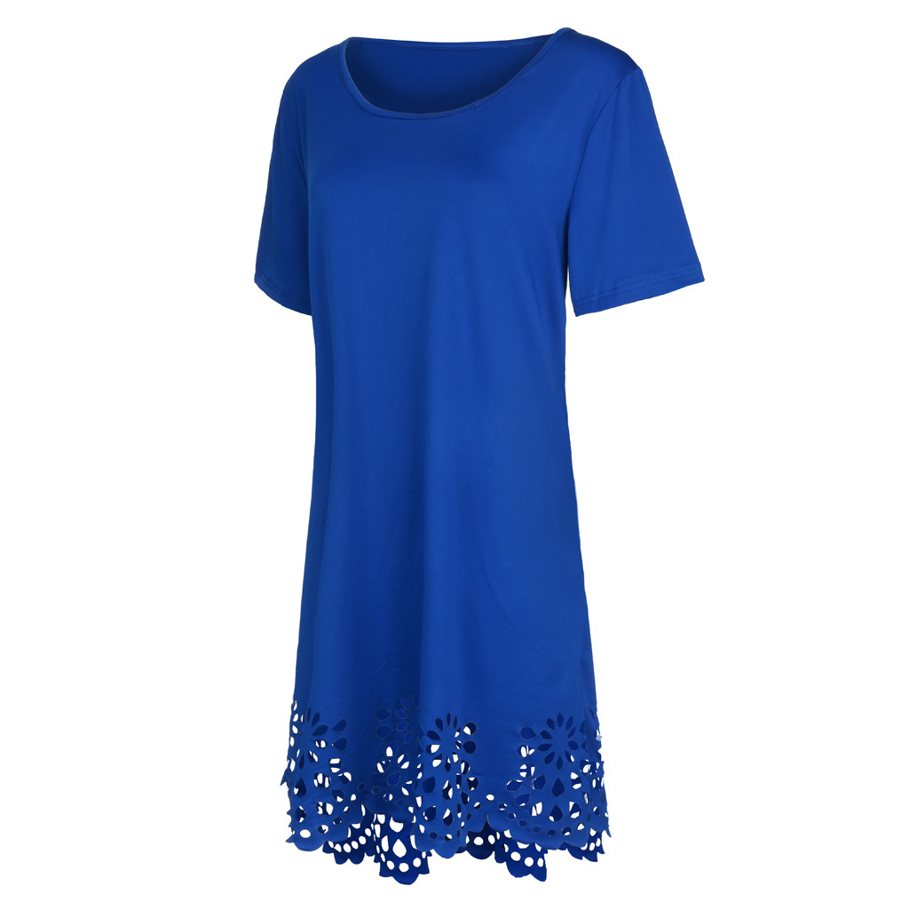 Plus Size Fashion Women Elegant Dresses Loose Solid Short Sleeve O-neck Hollow Out Casual Dress Vestido Mujer