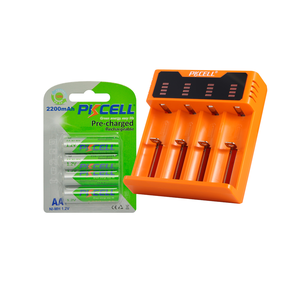 4Pcs 1.2V 2200mAh LSD 2A Pre-charged Batteries +4slot LED Screen nimh nocd liion sc c 3.6v 1.2 v rechargeable battery charg image