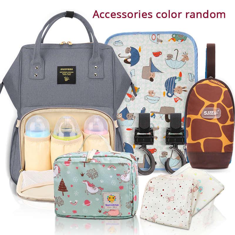 SUNVENO сумка для подгузников для мам Большая вместительная сумка для детских подгузников дизайнерская сумка для кормления модный рюкзак для ...