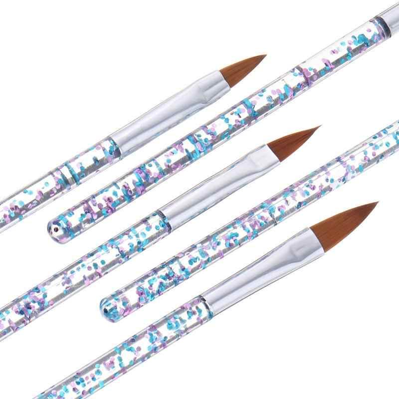 5Pcs Fashion Acryl Uv Gel Nail Art Builder Brush Pen Set Nail Art Brush Schilderij Tekening Borstel Manicure Hot koop Hoge Kwaliteit