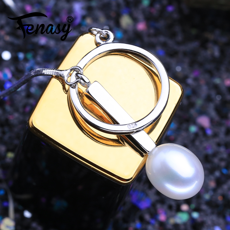 FENASY Natural Freshwater Pearl Necklaces For Women Romantic Y Necklace 925 Sterling Silver Pendant With Pearl Idea Gift