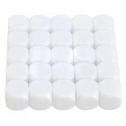 25 peças 16mm branco, cubo acrílico branco d6, jogo de tabuleiro para criança, diy, brinquedo, pintura de escrita, grafite, família jogos divertidos e ensino