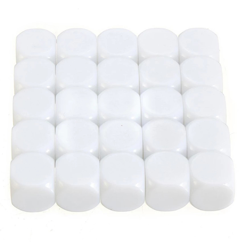 25pcs <font><b>16mm</b></font> <font><b>Blank</b></font> <font><b>Dice</b></font> White Acrylic Cube D6 Board Game For Kid DIY Toy Write Painting Graffiti Family Games Fun and Teaching image