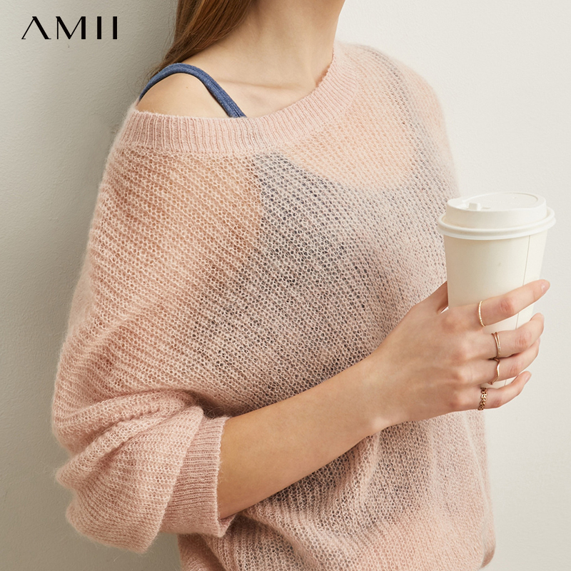 Amii Is Simple And Lazy Sexy Perspective Knitted Sweater Women Autumn And Winter New Ma Hai Hair Loose Pullover Sweater 11930463