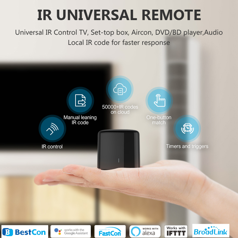 BroadLink BestCon RM4C mini WiFi Smart Universal IR Remote Controller Works with Google Home Wi-Fi 3G 4G, Alexa Smart Home title=