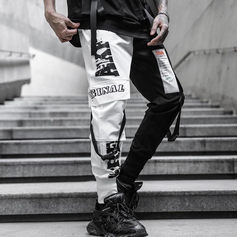 Брюки-Джоггеры мужские с лентами, уличная одежда, брюки-султанки в стиле хип-хоп, повседневные тренировочные штаны в стиле пэчворк до щиколо...
